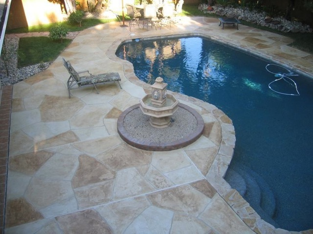 Customcrete concrete resurfacing st louis mo Flagstone pavers around pool